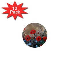 Poppy Garden 1  Mini Button Magnet (10 Pack)