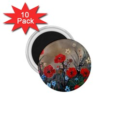 Poppy Garden 1 75  Button Magnet (10 Pack)