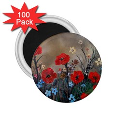 Poppy Garden 2 25  Button Magnet (100 Pack)