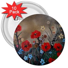 Poppy Garden 3  Button (10 pack)