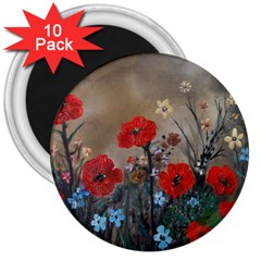 Poppy Garden 3  Button Magnet (10 pack)