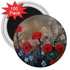 Poppy Garden 3  Button Magnet (100 pack)