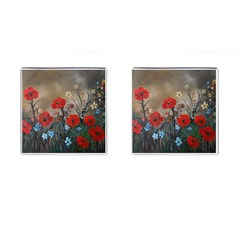 Poppy Garden Cufflinks (Square)