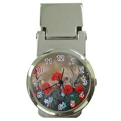 Poppy Garden Money Clip with Watch
