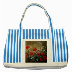 Poppy Garden Blue Striped Tote Bag