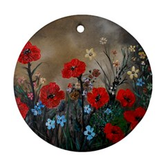 Poppy Garden Round Ornament (two Sides)