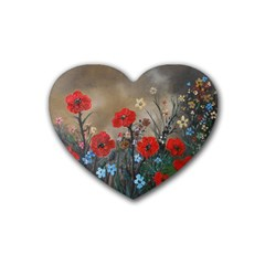 Poppy Garden Drink Coasters (Heart)