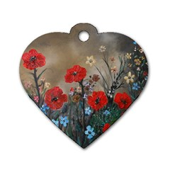 Poppy Garden Dog Tag Heart (two Sided)