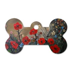 Poppy Garden Dog Tag Bone (Two Sided)