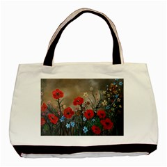 Poppy Garden Twin-sided Black Tote Bag