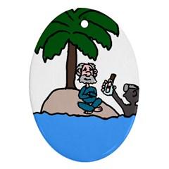 Desert Island Humor Oval Ornament