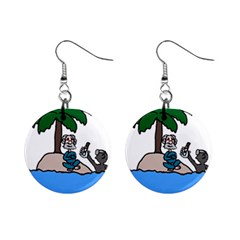 Desert Island Humor Mini Button Earrings