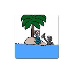 Desert Island Humor Magnet (square)