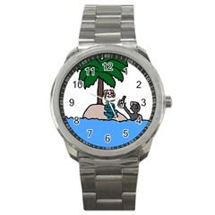 Desert Island Humor Sport Metal Watch