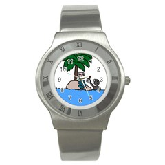 Desert Island Humor Stainless Steel Watch (slim)