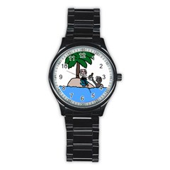 Desert Island Humor Sport Metal Watch (Black)