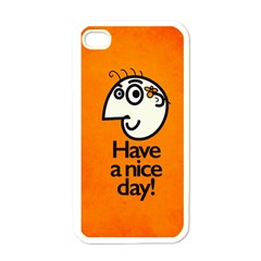 Have A Nice Day Happy Character Apple iPhone 4 Case (White)