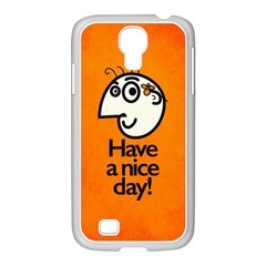 Have A Nice Day Happy Character Samsung GALAXY S4 I9500/ I9505 Case (White)