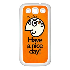 Have A Nice Day Happy Character Samsung Galaxy S3 Back Case (White)