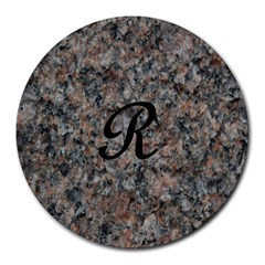 Pink And Black Mica Letter R 8  Mouse Pad (round)