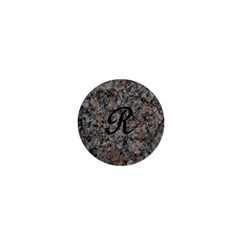 Pink And Black Mica Letter R 1  Mini Button Magnet