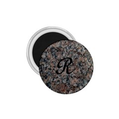 Pink And Black Mica Letter R 1.75  Button Magnet
