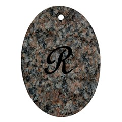 Pink And Black Mica Letter R Oval Ornament