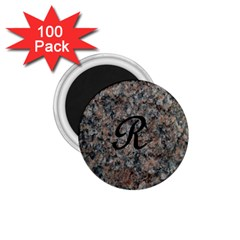 Pink And Black Mica Letter R 1.75  Button Magnet (100 pack)