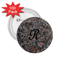 Pink And Black Mica Letter R 2.25  Button (100 pack)