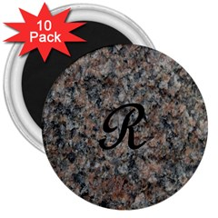 Pink And Black Mica Letter R 3  Button Magnet (10 pack)