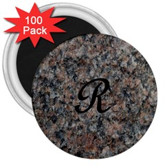 Pink And Black Mica Letter R 3  Button Magnet (100 pack)