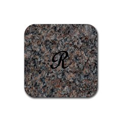 Pink And Black Mica Letter R Drink Coaster (Square)