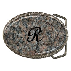 Pink And Black Mica Letter R Belt Buckle (Oval)