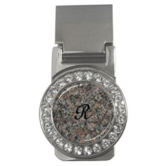 Pink And Black Mica Letter R Money Clip (cz)