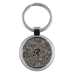 Pink And Black Mica Letter R Key Chain (Round)