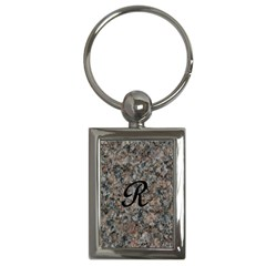 Pink And Black Mica Letter R Key Chain (Rectangle)
