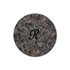 Pink And Black Mica Letter R Drink Coaster (Round)