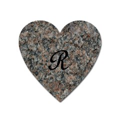 Pink And Black Mica Letter R Magnet (Heart)