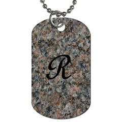 Pink And Black Mica Letter R Dog Tag (one Sided)