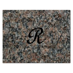 Pink And Black Mica Letter R Jigsaw Puzzle (Rectangle)