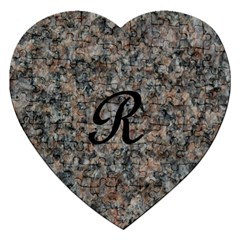 Pink And Black Mica Letter R Jigsaw Puzzle (Heart)