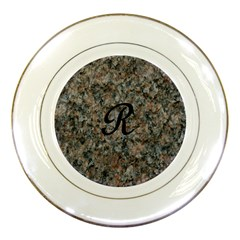 Pink And Black Mica Letter R Porcelain Display Plate