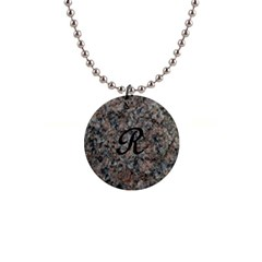 Pink And Black Mica Letter R Button Necklace