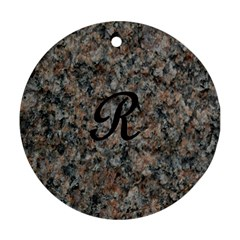 Pink And Black Mica Letter R Round Ornament (two Sides)