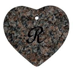 Pink And Black Mica Letter R Heart Ornament (two Sides)