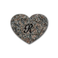 Pink And Black Mica Letter R Drink Coasters 4 Pack (Heart)