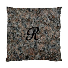 Pink And Black Mica Letter R Cushion Case (two Sided)