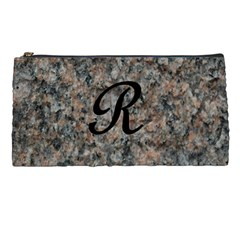 Pink And Black Mica Letter R Pencil Case