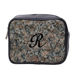 Pink And Black Mica Letter R Mini Travel Toiletry Bag (two Sides)