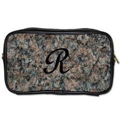 Pink And Black Mica Letter R Travel Toiletry Bag (Two Sides)